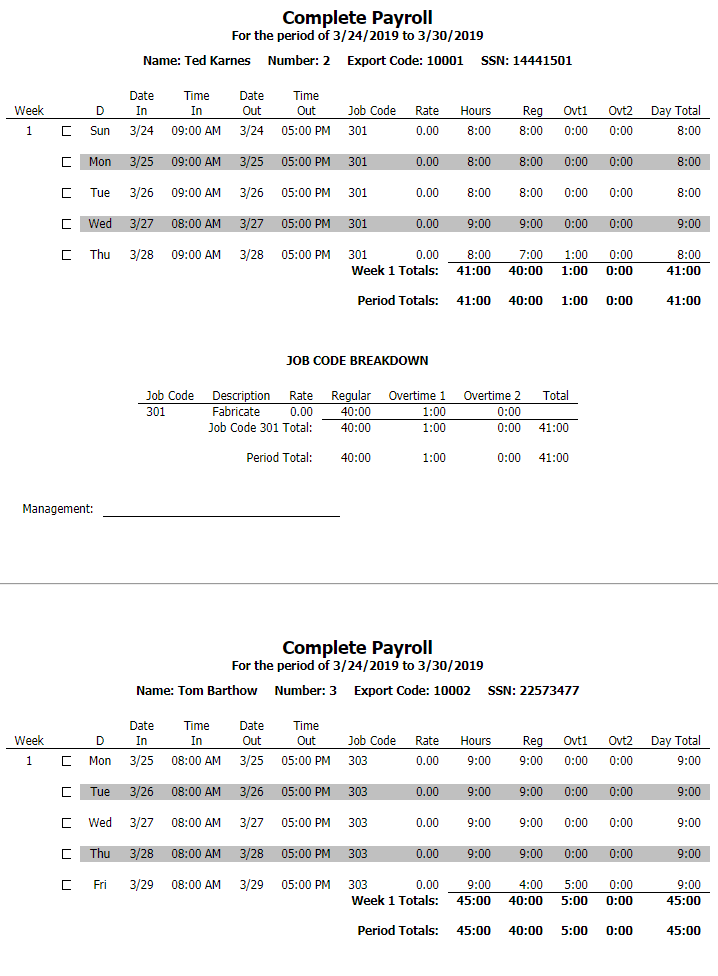 Complete Payroll Report