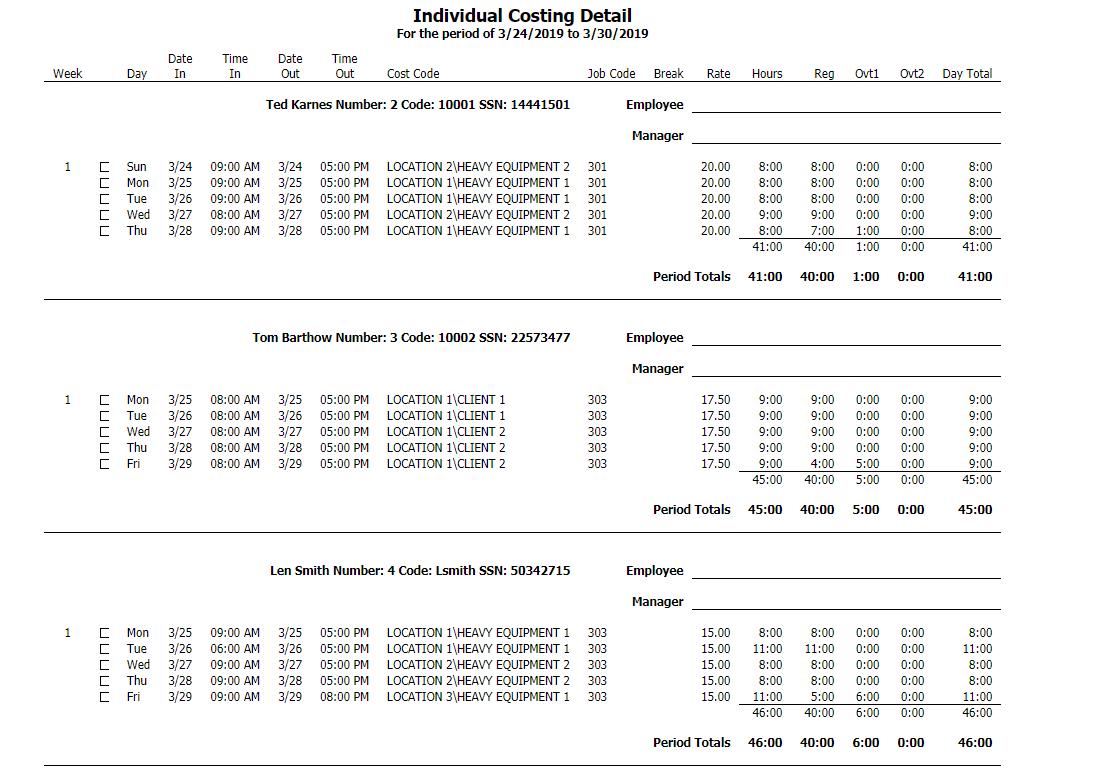 Individual Costing Detail