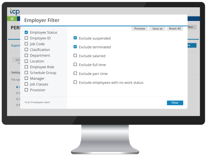 Payroll Integration Filters