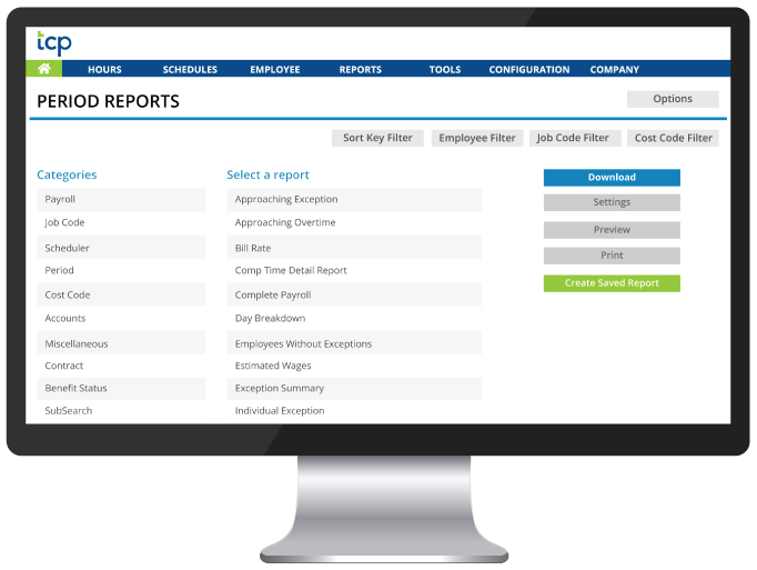 Pre-Configured Reports List