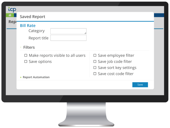 Saved Reports Configuration - Bill Rate